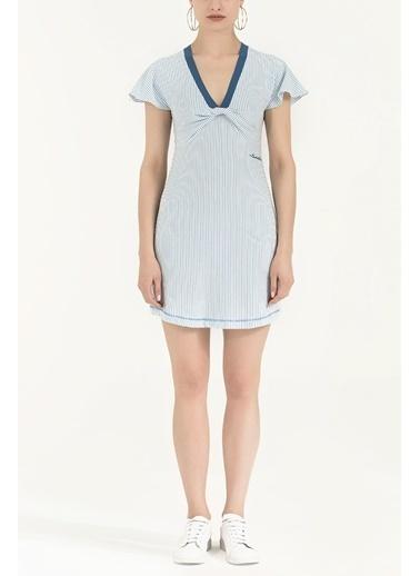 Societa V Yaka Örme Mini Elbise 92076 Mavi